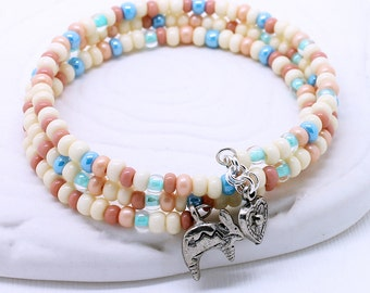 Southwestern Pastel Bracelet - Cream White, Salmon Pink, Light Blue, Mint Green Czech Glass Seed Beads, Rabbit or Heart Charms