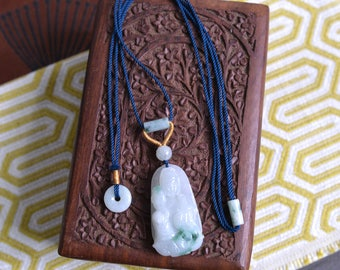 Jade bodhisattva Guanyin adjustable necklace. Traditional Chinese knotting art. Dark blue and gold long necklace. READY TO SHIP/style071