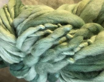 Greens Light and Dark  Merino Handspun Hand dyed chunky Mini Hank 25 Metres