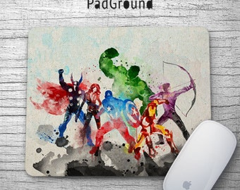 Avengers Mouse Pad, Marvel Superhero, Mousepads, Kids Decor, Office Decor, Desk Accessories, Boys Gift, Soft Fabric rubber backing - PGM26