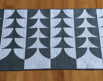 Trees Table Runner for sale, free shipping gray modern wall hanging table topper rectangle patchwork Christmas holiday gift
