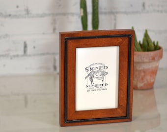 """5x7"""" Picture Frame in SOLID Wood Tone Finish with SOLID Black Wood Wedge Style - Can Be Any Color Combination - 5x7 Photo Frame"""