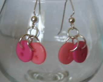 Sweet Rose and Coral Tiny Button Earrings