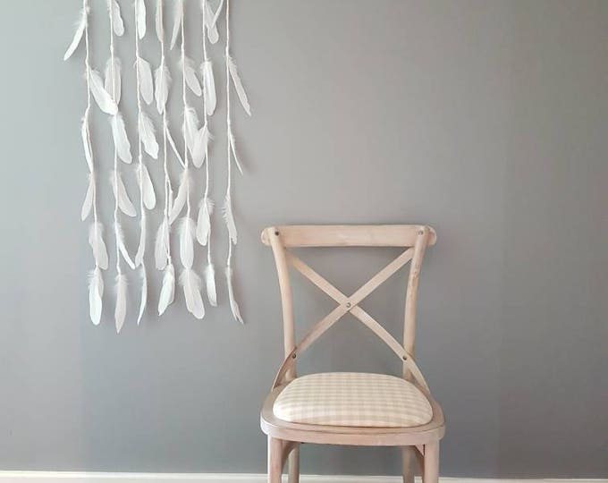 Feather wall art large / shabby chic decor / original wall hanging / bohemian / nautical nursery/ Christmas decor/ gift ideas snow flake