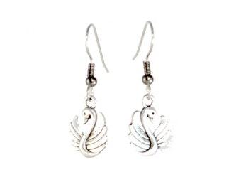 Miniature Swan Charm Earrings on Hooks or Clip Ons