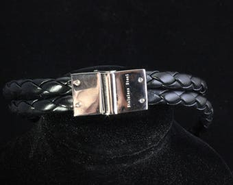 Double braid band with stainless steel clasp