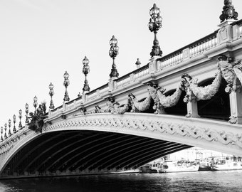 Paris black and white photography, Pont Alexandre, bridge, Paris photography, Paris print, black and white photography, fine art print