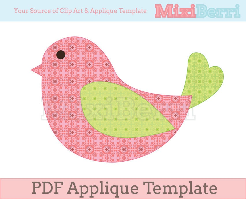 bird applique template pdf instant download
