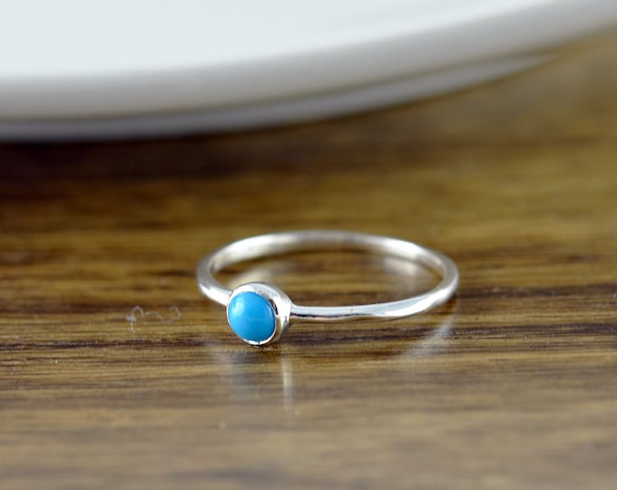 Sterling Silver Turquoise Ring, Turquoise Ring - Boho Ring - Boho Jewelry - Birthstone Ring - Gem Ring - Solitaire Ring - Stackable Ring