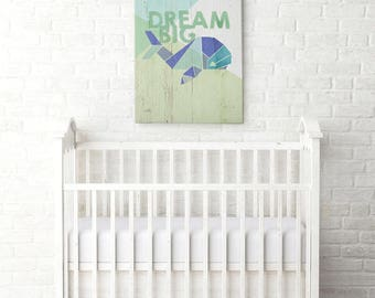 Dream Big -  Gallery Wrapped Canvas | Inspirational Nursery Decor | Whale Canvas | Cool Kid Art | Print Canvas | Kid Decor | Playroom Decor