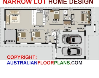 159m2 |4 Bedroom|House Plans|narrow lot| study|Construction Plans|Custom House Plans|blueprint|Architectural Blueprints|Architectural Plans