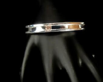 Beveled Edge Cuff Bracelet in Silver Tone Metal