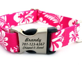 HAWAIIAN Polyester Webbing Dog Collar with Laser Engraved Personalized Buckle - PINK