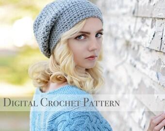 Hat Pattern / Basic Slouchy Hat Pattern 012 / Crochet Hat Pattern / Slouchy Beanie Hat Pattern / DIY Gift for Her  / DIY Crochet Pattern