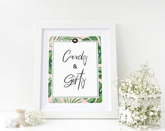 """Cards and Gifts Sign for Bridal Shower- 5"""" x 7"""" - Tropical Theme - Instant Printable Download"""