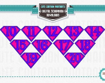 Instant Download Superhero NUMBERS 10 - 20 Purple ClipArt Clip Art Super Hero Party Supply