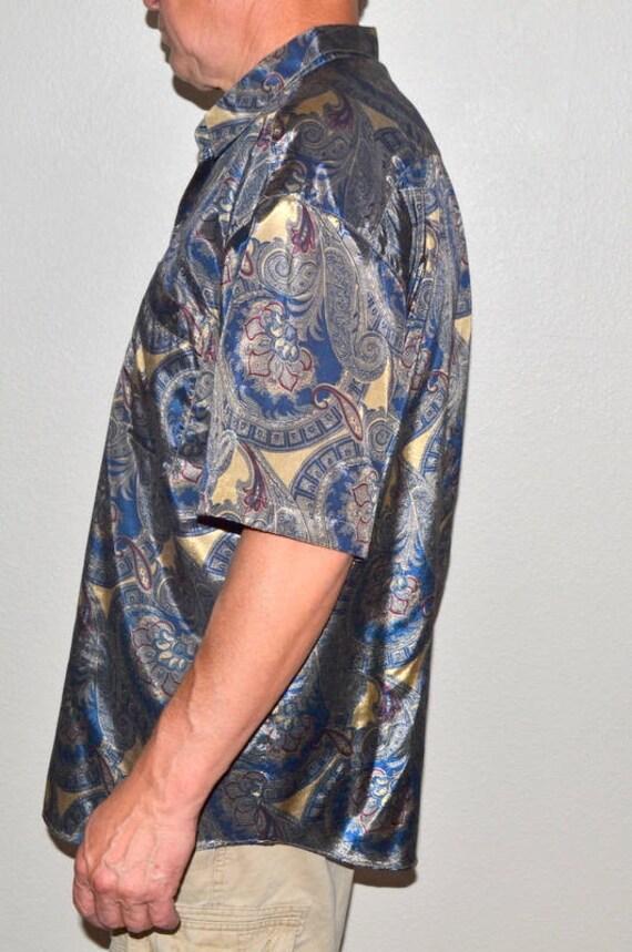 Mens vintage T. Corner Thai silk shirt Size XXL silk Paisleys shirt boyfriend shirt gold green burgundy ttrmG