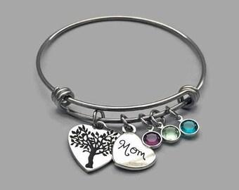 Mom Charm Bangle, Mom Charm Bracelet, Family Tree Bracelet, Family Tree Bangle, Family Tree Charm, Mother's Day Bracelet, Stainless Steel