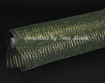 "21""x 10 yds Moss Metallic Deco Mesh w/Gold Lines/Wreath Supplies/XB905-08"