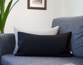 Black lumbar pillow cover - throw pillow cover for bedding decor, linen decorative pillow custom size, oblong pillow cover