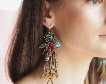 BOHO tassel earrings Long statement earrings Fringe earrings Beaded tassel earrings Swarovski rivoli drop earrings Dangle seed bead earrings
