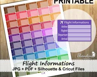 70% SALE, Flight Info, Printable Planner Stickers, Erin Condren Planner Stickers, EC Printable Stickers, Flight Info Stickers - Cut Files
