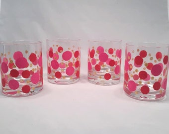 DOTS  Glasses- Set 4 Handpainted Old Fashion Glasses - Whiskey Lover, Bar Glasses, On the Rocks Glasses, Pink Dots, Modern Glasses, Bubbles.