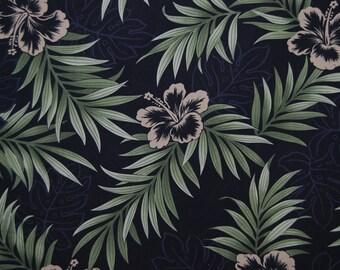 Hawaiian Fabric black tropical fabric hibiscus and tropical leaf print on black for Aloha shirts pareo fabric Hawaii decor tropical decor