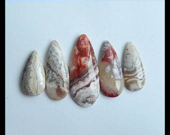 New,5 PCS Natural  Crazy Lace Rosetta Stone Gemstone Cabochons,Charm Focal Beads Supplies,16.4g (Cb235)