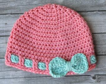 CROCHET PATTERN: Faux Ribbon Baby Hat Crochet Pattern pdf DOWNLOAD