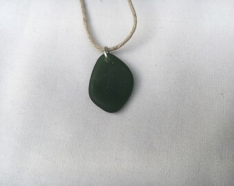 Sea Glass Necklace (Dark Green)