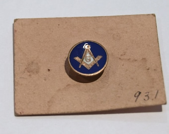 Vintage Masonic Square and Compass screw-back lapel pin (#49)