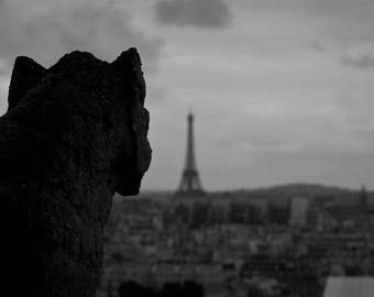 Paris Gargoyle and Eiffel Tower - 9x16 Digital Print
