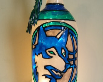 Minnesota Tinberwolves Inspired Wine Bottle Lamp Handpainted Stained Glass look