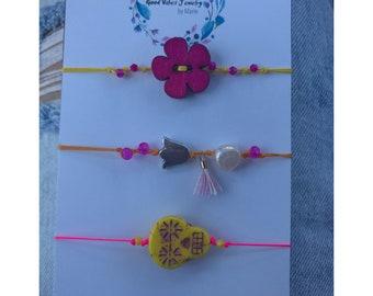 Flowers & Skull Bracelets