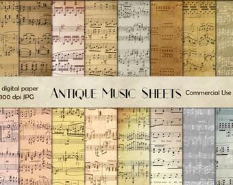 Music digital paper, vintage music paper, sheet music scrap, sheet music decoupage, musical notes, scrap digital paper, digital paper CU