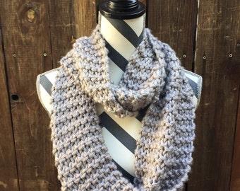 Chunky Gray Hand Knit Eternity Scarf / grey