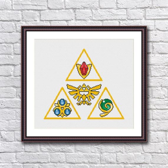 Legend Of Zelda Triforce Spiritual Stones Cross Stitch Pattern