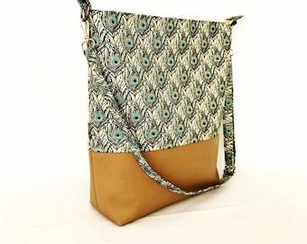 Tote Crossbody Shoulder Large Handbag with zip closure, adjustable strap and 2 slip pockets.