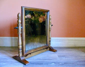 Wood Frame Dresser Mirror, Paine Furniture Co Boston, Large Swivel Shaving  Mirror, Table Top Vanity Mirror, Rustic Country Farmhouse Decor