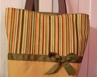 Butternut Squash Fancy Stripe BAG Purse Tote or Diaperbag