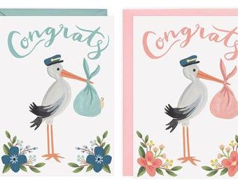 Stork Congrats Card (Boy OR Girl)