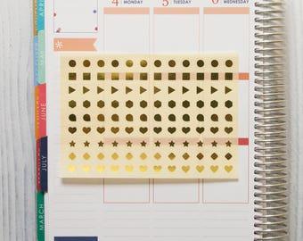 108 metallic stickers, gold stickers, planner stickers, tiny sticker, reminder checklist sticker dot round heart star triangle