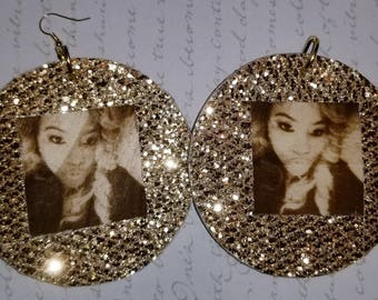 PERSONALIZED Photo Gold Wrapped EARRINGS