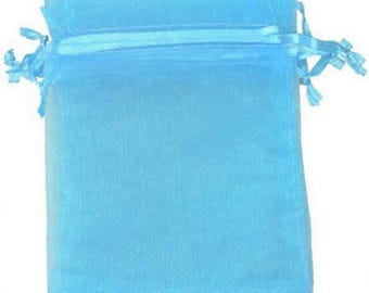 LOT 10 POCKETS 8 X 10 GIFT WEDDING CHRISTENING JEWELRY TURQUOISE BLUE ORGANZA BAGS