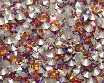 25 pcs Swarovski Crystal Rhinestones Pointed Back Chatons Topaz AB SS19  (4.4 - 4.6mm) 1028 Xilion Rose