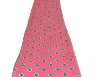 Mens Vintage Mallory & Church Neck Tie mod retro Pink with diamond shaped print gifts for him