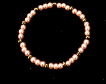 Girls Stretch Bracelet of Peach and Copper Glass Pearls