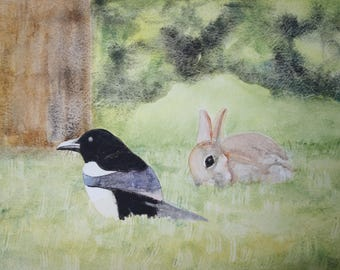 Animal watercolor: pie and rabbit in Meadow