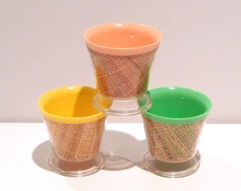 Insulated Dessert Cup Set of 3 Vintage Pastel Burlap Raffiaware Bowls 1960s Woven Straw Thermo Green Plastic Melmac Patio Ice Cream Tiki